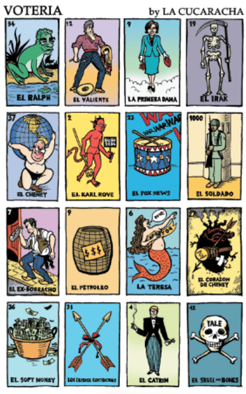 Voteria board illustrated by Lalo Alcaraz.