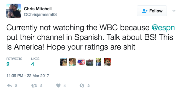 English-Only Fans Flip Out (Again) Because ESPN 2 Ran ESPN Deportes' Spanish-Language WBC Broadcast