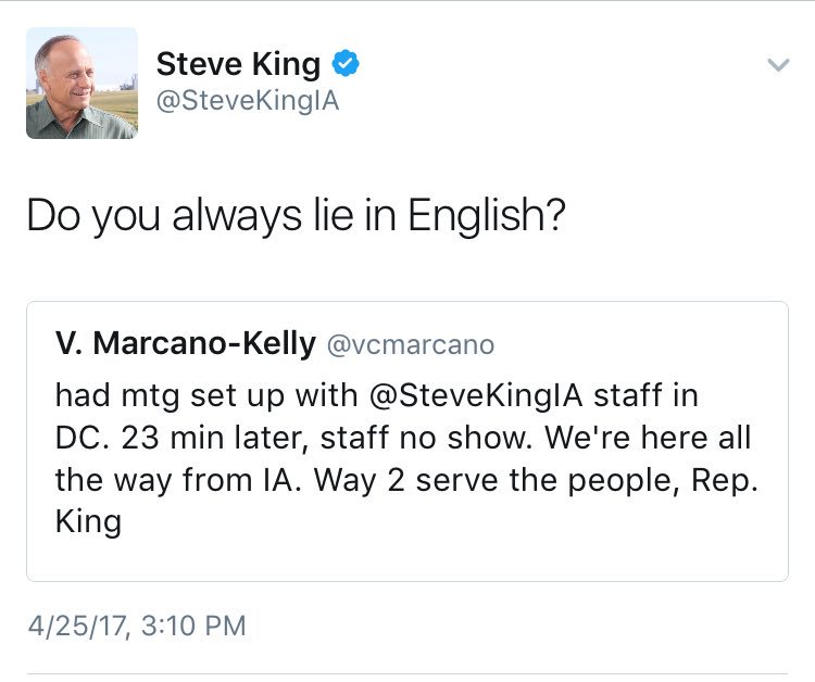 After Rep. Steve King Mocks Latina on Twitter, She Visits His DC Office and Facebook Lives It