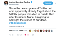 A Viral Twitter Thread Is Sharing Names of People Who Died in Puerto Rico After Hurricane María, Because Cable News Won't Do Its Job