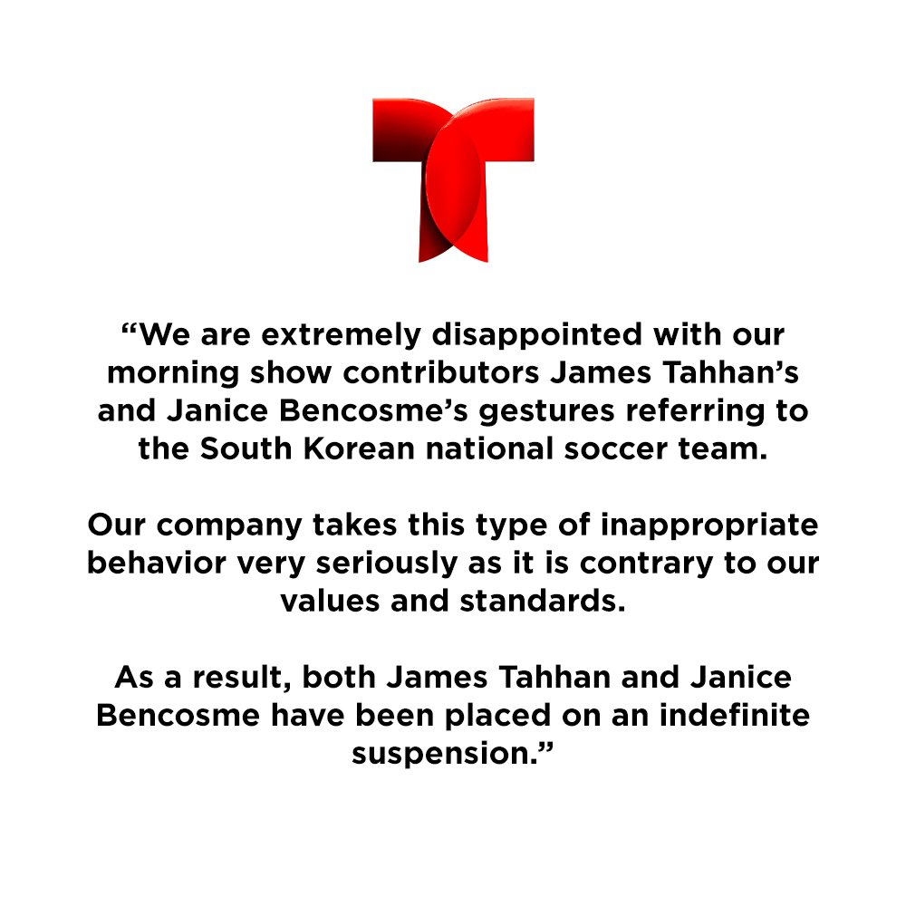 Telemundo suspends hosts after racist gestures