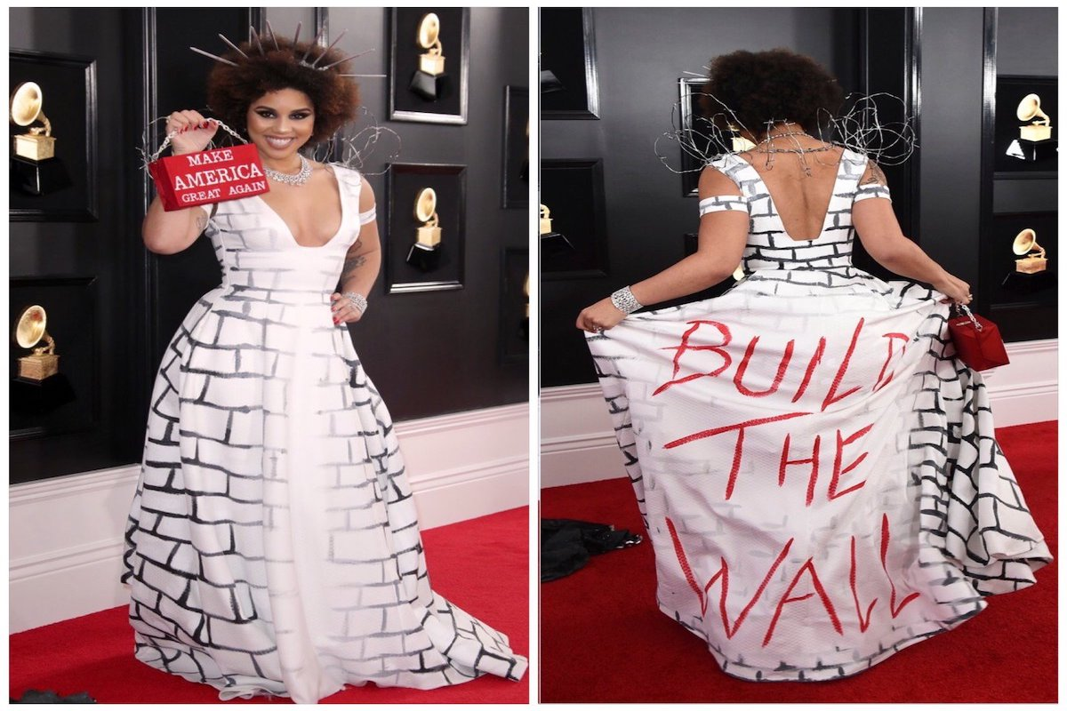 Singer Joy Villa Shows Up at Grammys in a BUILD THE WALL Dress