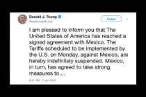 Trump Says US, Mexico Reach Agreement to Prevent Tariffs