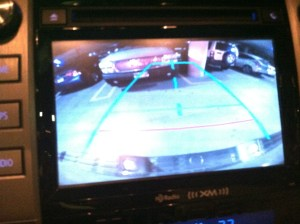 Parking in a parking garage made manageable with the back-up camera.