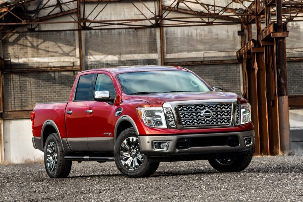 CHICAGO (Feb. 11, 2016) – Nissan TITAN will be available in 4x2 or 4x4 drive configurations with three cabin configurations – Crew Cab, King Cab and Single cab – and three bed lengths – 5.5, 6.5 and 8 feet. Similar to TITAN XD, TITAN will be available in five trim levels – S, SV, PRO-4X, SL and Platinum Reserve. The TITAN will be powered by Nissan's 5.6-liter Endurance® V8 gasoline engine capable of 390 horsepower and 401 lb.-ft. of torque. This engine will be mated to a 7-speed automatic transmission. A V6 gasoline engine will also be available (details to be announced at a later date).