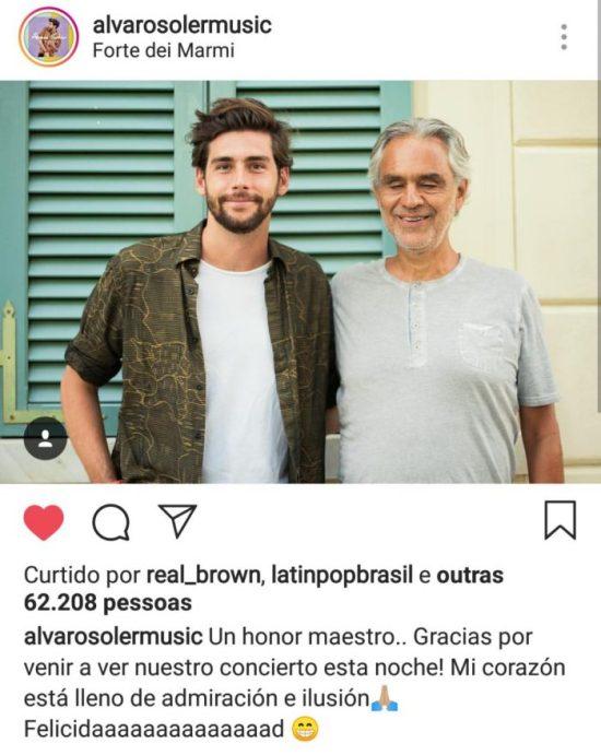 Instagram Alvaro Soler Andrea Bocelli