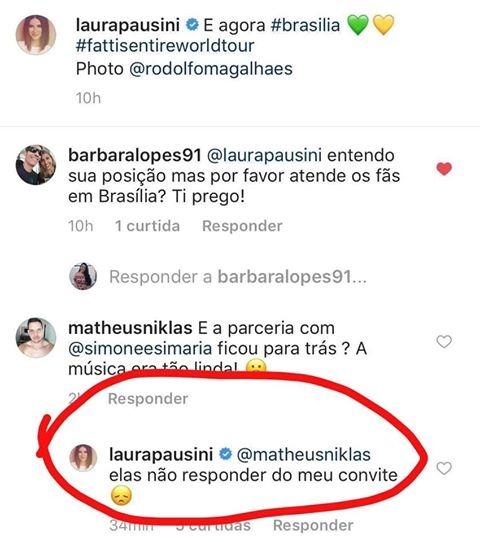 Laura Pausini responde fã sobre Simone e Simaria