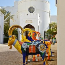 Muscat - Oryx Sculptures in a row at Bait Al Zubair Museum, Muscat, Oman 4