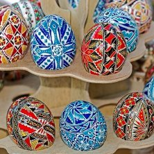 Traditional Romanian Easter eggs, painted and decorated