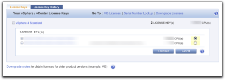 Selecting vSphere License to Divide