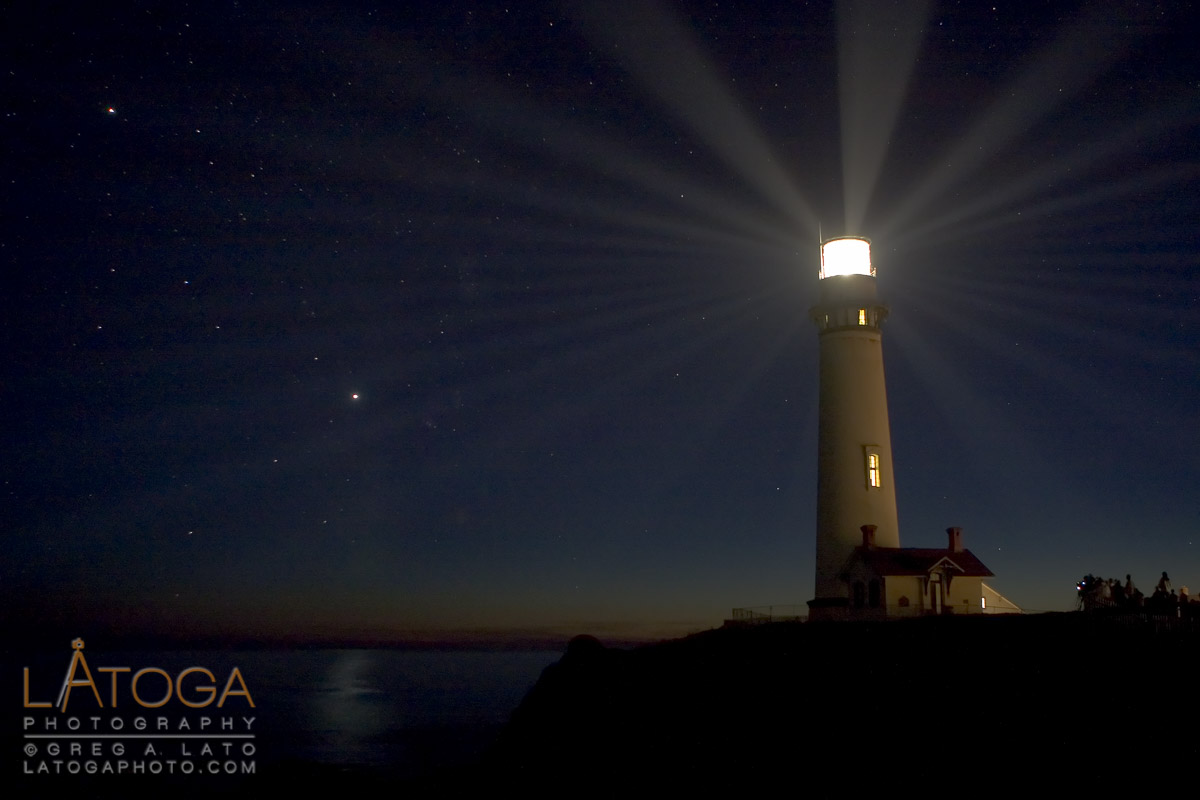 Lighting of Pigeon Point Lighthouse on California Central Coast
