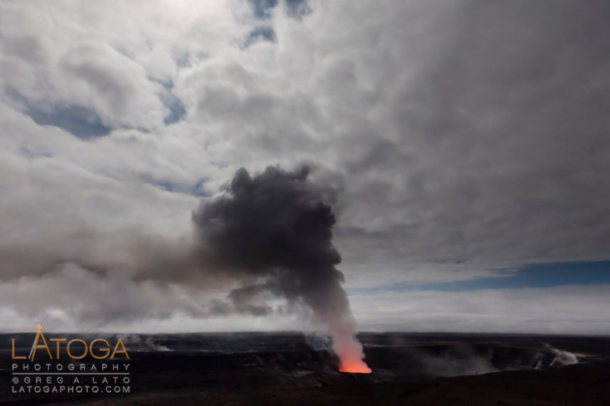 Volcanic Gas Plume from Halema'uma'u Crater in Hawai'i Volcanoes National Park, Kona, Hawai'i.