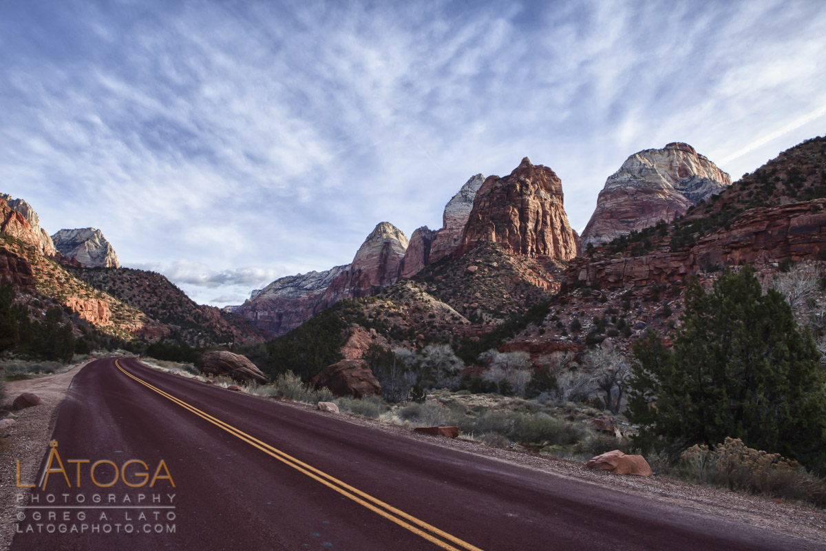 Sunsets on The Sentinel and The East Temple as seen from the entrance to Zion Canyon in winter at Zion National Park, Utah.
