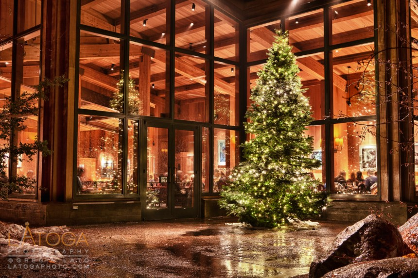 Night time view of Yosemite Lodge's Mountain Room Restaurant and Christmas Tree at Yosemite National Park (HDR)