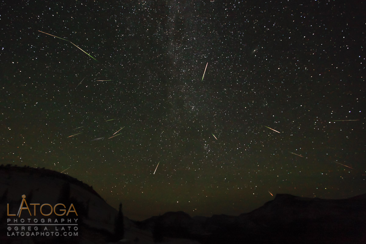 August 2012 Persied Meteor Shower over Olmsted Point in Yosemite National Park, California (Composite Image)