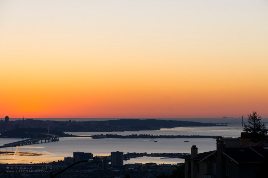 Sunset view of San Francisco to Farallon Islands from the Oakland Hills.
