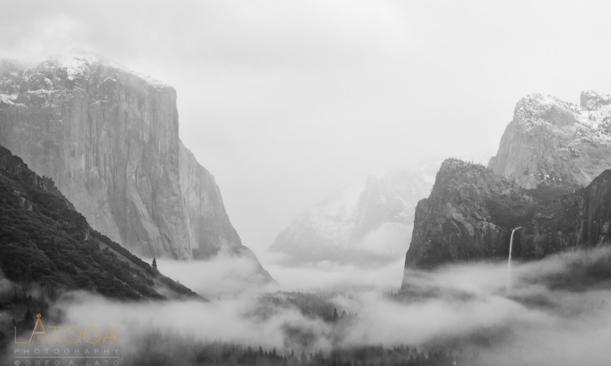 Fog Filled Yosemite Valley from Tunnel View