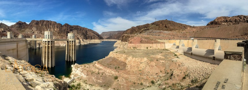 Hoover Dam, Colorado River up stream, and Spillway panoramic.
