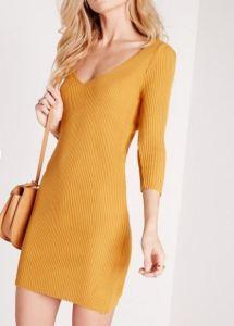 Robe à encolure V jaune moutarde - MissGuided