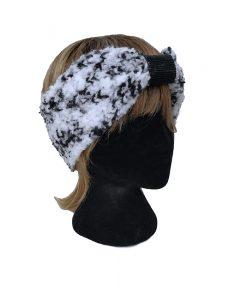 bandeau fait main la touche finale laine turban noir et blanc