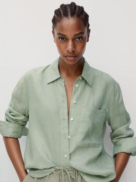 camisas de lino mango