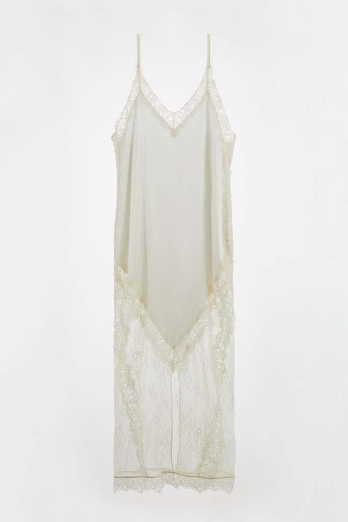 Vestido largo de seda y encajes - novias de zara