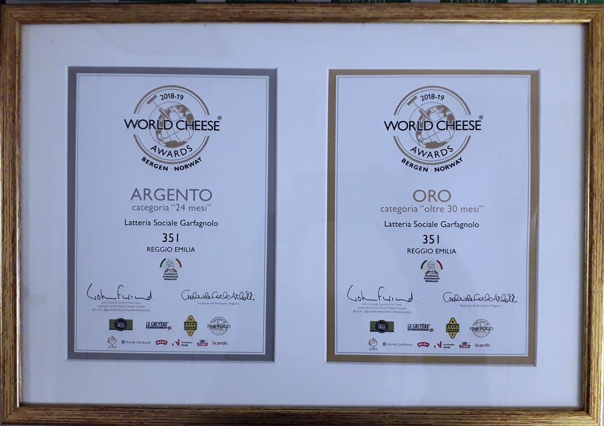 Medaglia d'Oro Parmigiano Reggiano 30 mesi, Medaglia d'Argento Parmigiano Reggiano 24 mesi