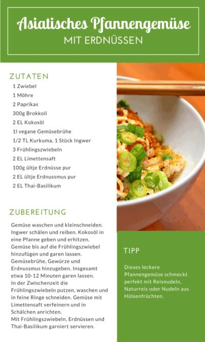 Asiatisches Pfannengemüse mit Erdnüssen - vegan, glutenfrei und gesund! Fitfood Erdnuss - hier erfährst du, warum Erdnüsse so gesund sind, welche Mineralien und Vitalstoffe sie liefern und mit welchen gesunden Rezepten du sie in deine Ernährung integrieren kannst!