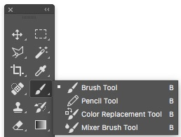 Cycle through hidden tools in Photoshop