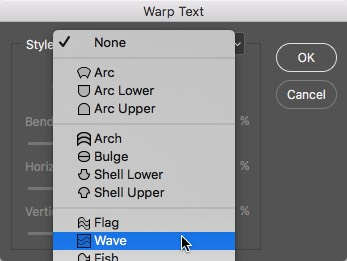 Photoshop Warp Text - Choose Wave