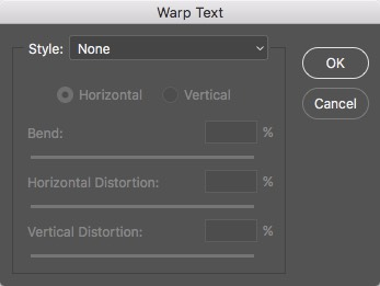 Warp Text Dialog Photoshop