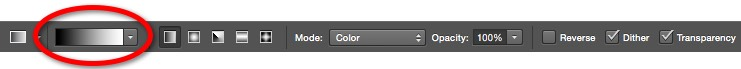 11a - Gradient Editor on Options Bar