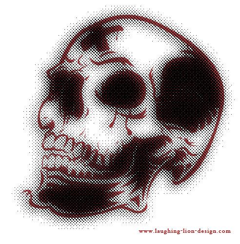 8-Halftone Skull