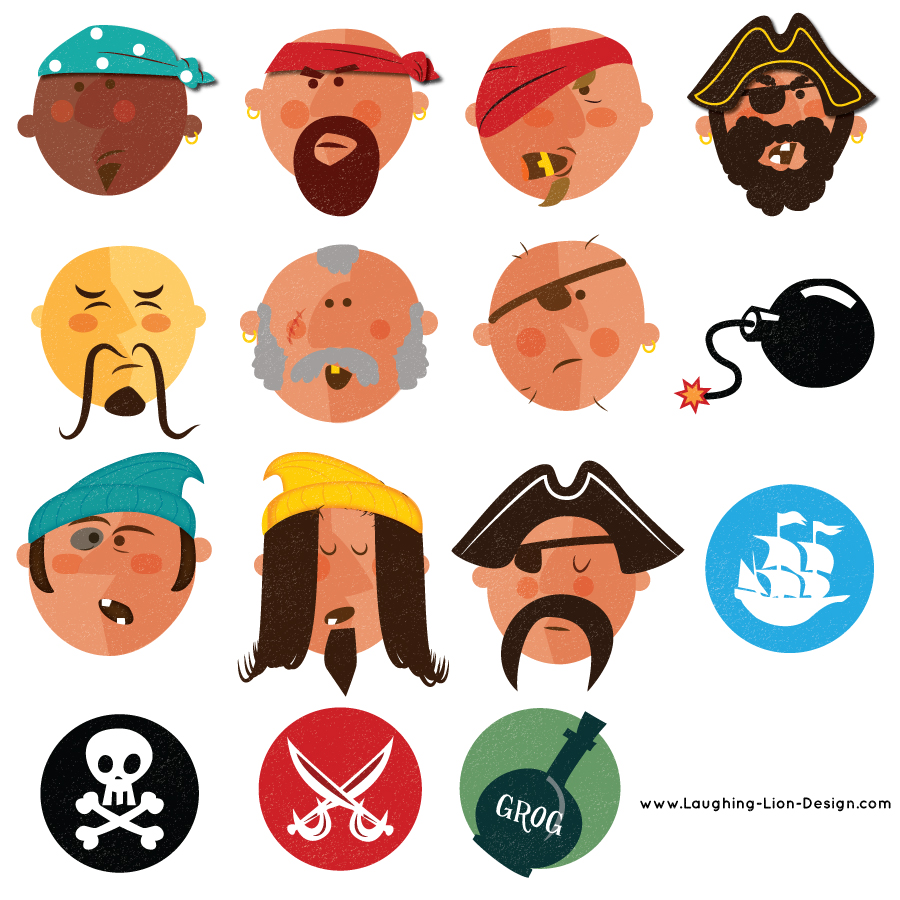 Pirate-Faces-And-Symbols-illustrated-JenniferFarley