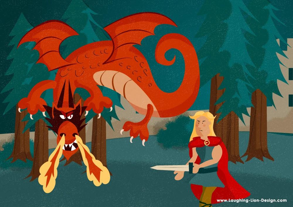 Fionn-Fighting-Dragon-Illustrated-By-Jennifer-Farley