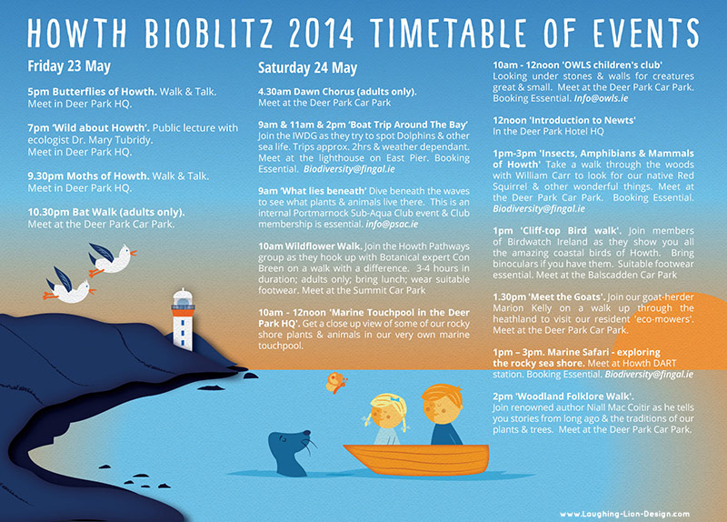 Howth Bioblitz Flyer - Illustrated and designed by Jennifer Farley