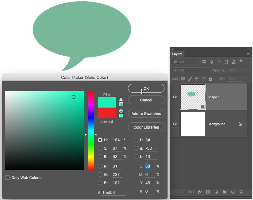 5 - Change colour on Layer Thumbnail Photoshop