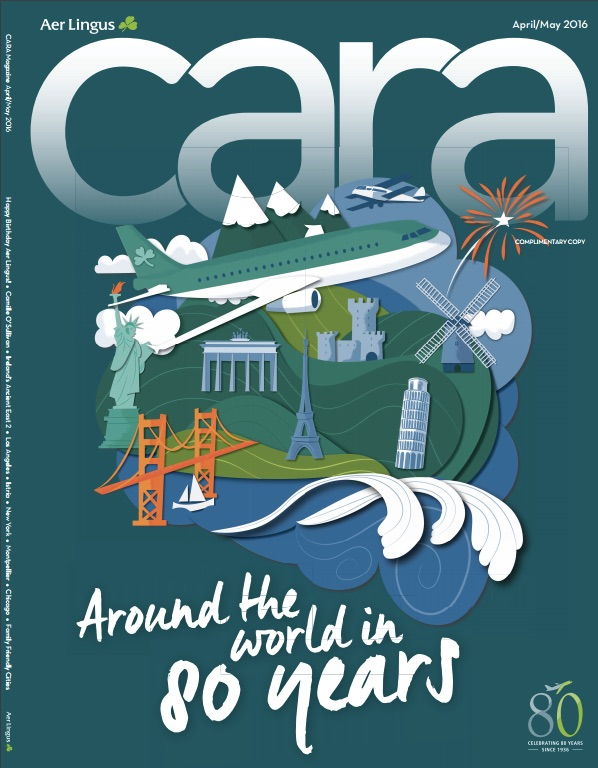 Cara - Aer Lingus in-flight magazine cover celebrating 80 years of flying.