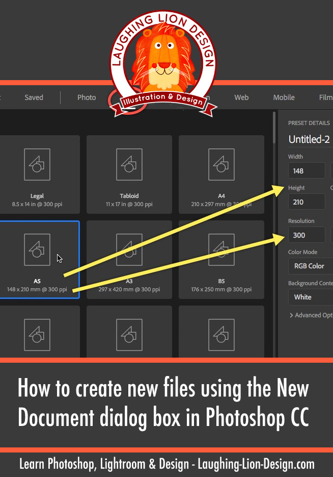 How to create a new file with the *new* New Document box in Photoshop CC