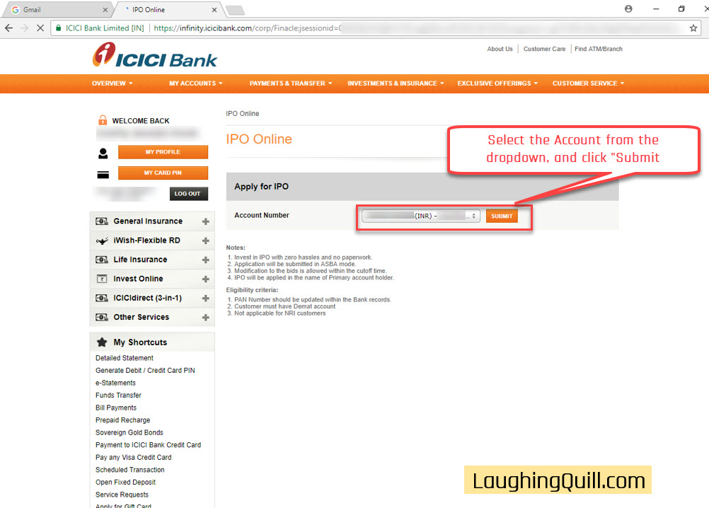 How to apply for IPO via ICICI Bank NetBanking (ASBA)-04