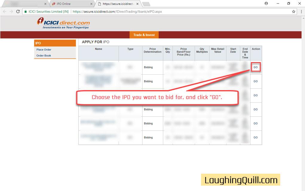 Apply ipo through icici net banking