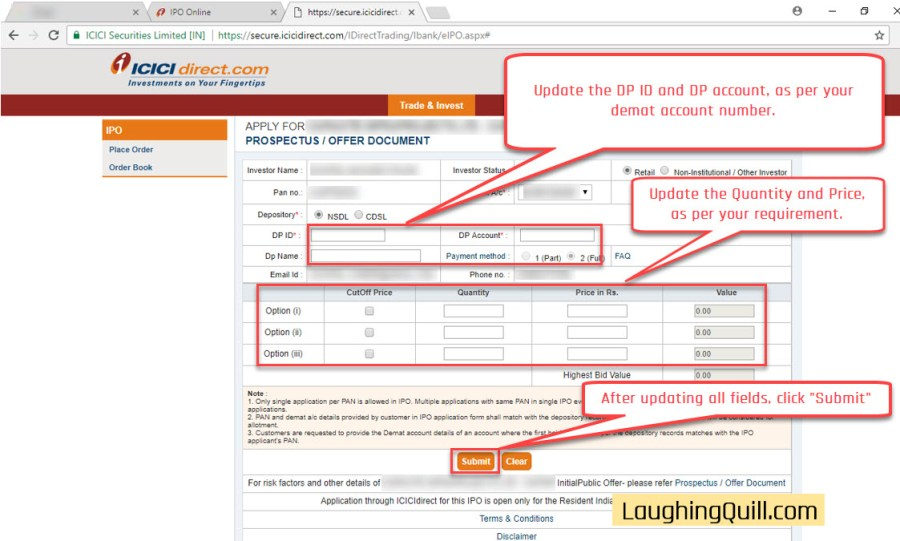 How to apply for IPO via ICICI Bank NetBanking (ASBA)-09