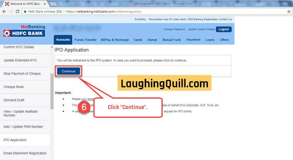 How to apply for IPO via HDFC Bank NetBanking (ASBA) - LaughingQuill