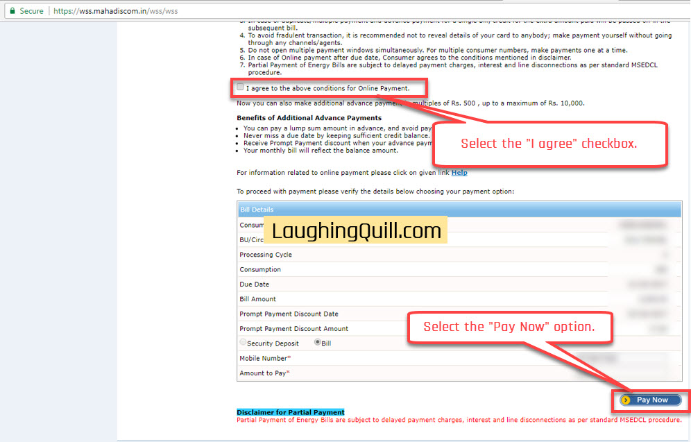 """Pay MSEB Electricity Bills Online- Step 06. Select the """"I agree"""" checkbox. Next click the """"Pay Now"""" button."""