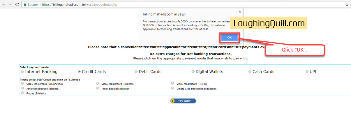 "Pay MSEB Electricity Bills Online- Step 09. Click ""OK""."