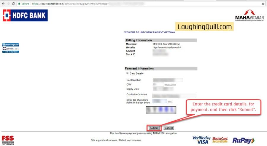 "Pay MSEB Electricity Bills Online- Step 10. Enter the credit card details for payment and then click the ""Submit"" button."