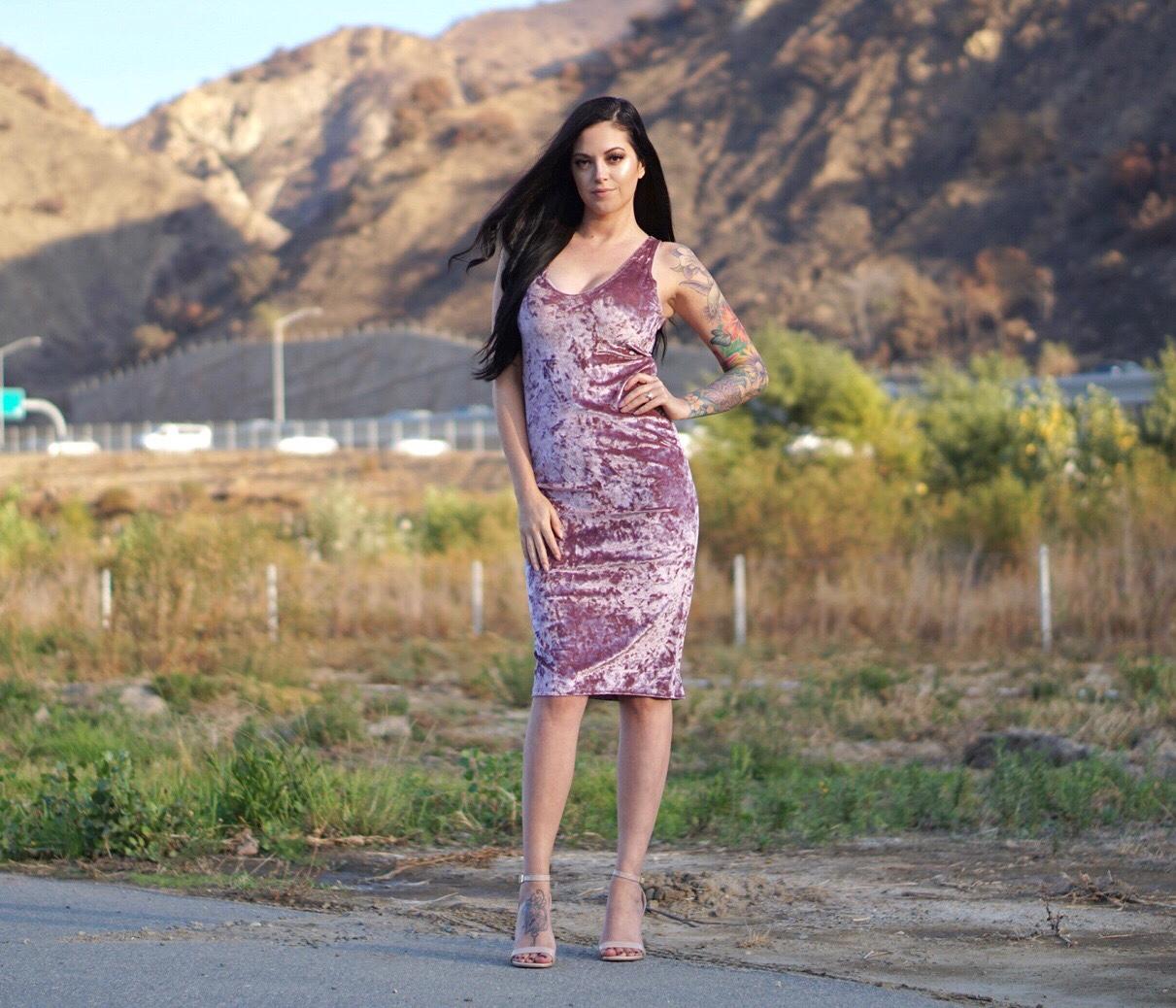 Rose Bodycon Velvet Dress from Shop Pineapple Curls Boutique