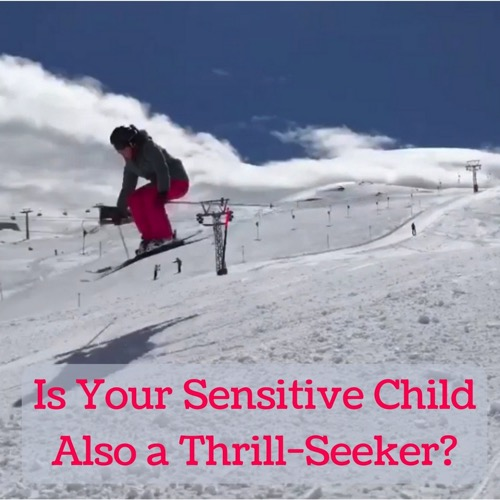 sensitive child thrill-seeker - girl jumping on skis - Laugh Love Learn