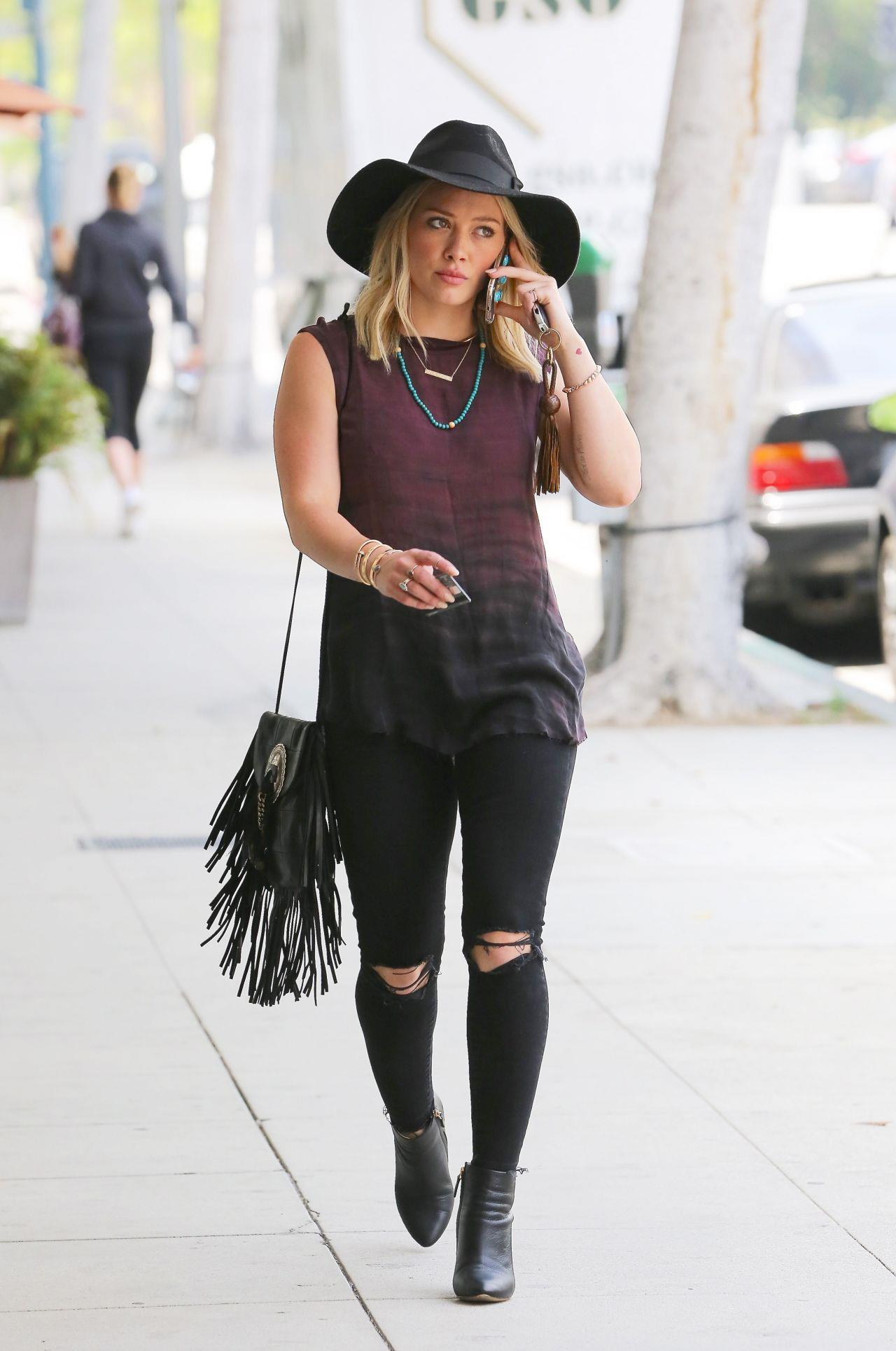 Hilary Duff Street Style Casual Outfit At West Hollywood