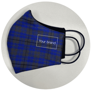 Tartan reusable face mask - buy in bulk with your own logo added